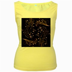 Floral Design Women s Yellow Tank Top