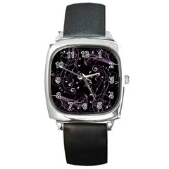 Floral Design Square Metal Watch