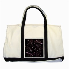 Floral Design Two Tone Tote Bag