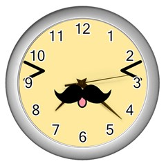 Mustache Wall Clocks (silver)  by Nexatart