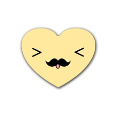 Mustache Rubber Coaster (heart)  by Nexatart
