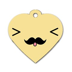 Mustache Dog Tag Heart (two Sides) by Nexatart