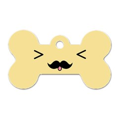 Mustache Dog Tag Bone (two Sides) by Nexatart
