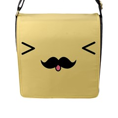 Mustache Flap Messenger Bag (L)