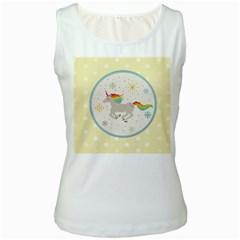 Unicorn Pattern Women s White Tank Top