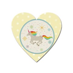 Unicorn Pattern Heart Magnet by Nexatart