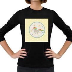 Unicorn Pattern Women s Long Sleeve Dark T Shirts
