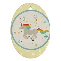 Unicorn Pattern Oval Ornament (two Sides)