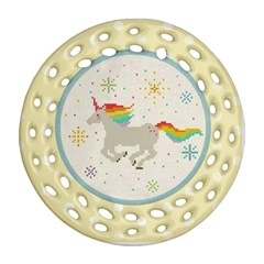 Unicorn Pattern Round Filigree Ornament (two Sides) by Nexatart