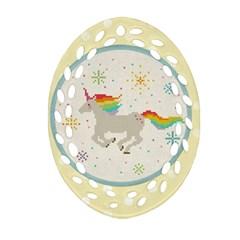 Unicorn Pattern Oval Filigree Ornament (two Sides) by Nexatart