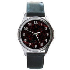 Floral Design Round Metal Watch