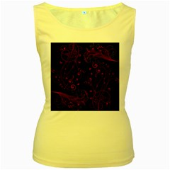Floral Design Women s Yellow Tank Top