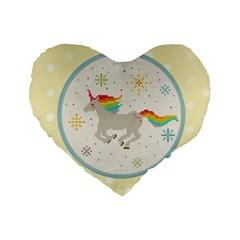 Unicorn Pattern Standard 16  Premium Flano Heart Shape Cushions by Nexatart