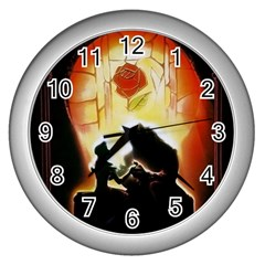 Beauty And The Beast Wall Clocks (silver)  by Nexatart