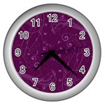 Floral design Wall Clocks (Silver)  Front