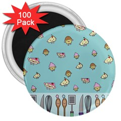 Kawaii Kitchen Border 3  Magnets (100 Pack)