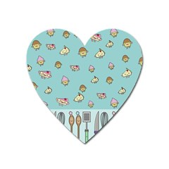 Kawaii Kitchen Border Heart Magnet by Nexatart