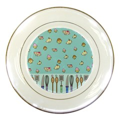 Kawaii Kitchen Border Porcelain Plates by Nexatart