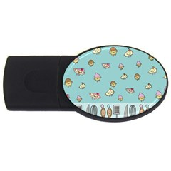 Kawaii Kitchen Border Usb Flash Drive Oval (4 Gb) by Nexatart