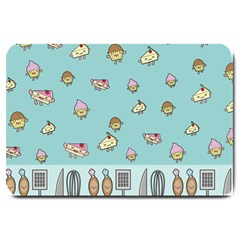 Kawaii Kitchen Border Large Doormat  by Nexatart