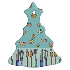 Kawaii Kitchen Border Christmas Tree Ornament (two Sides)