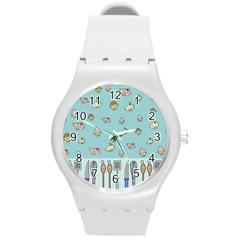 Kawaii Kitchen Border Round Plastic Sport Watch (m) by Nexatart