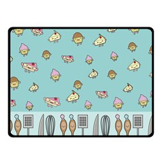 Kawaii Kitchen Border Double Sided Fleece Blanket (small)  by Nexatart