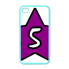 Star Five Purple White Apple Iphone 4 Case (color) by Mariart
