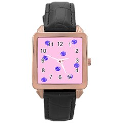 Star Space Balloon Moon Blue Pink Circle Round Polkadot Rose Gold Leather Watch  by Mariart