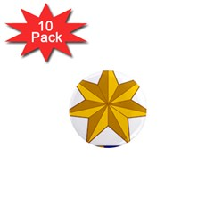 Star Yellow Blue 1  Mini Magnet (10 Pack)  by Mariart