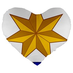 Star Yellow Blue Large 19  Premium Flano Heart Shape Cushions by Mariart