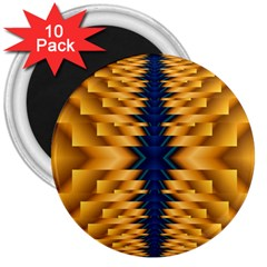 Plaid Blue Gold Wave Chevron 3  Magnets (10 Pack)  by Mariart