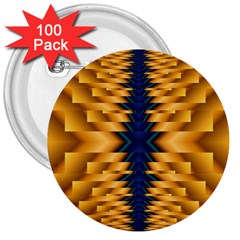 Plaid Blue Gold Wave Chevron 3  Buttons (100 Pack)  by Mariart