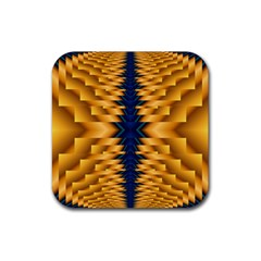 Plaid Blue Gold Wave Chevron Rubber Square Coaster (4 Pack)  by Mariart