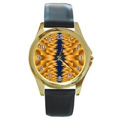 Plaid Blue Gold Wave Chevron Round Gold Metal Watch by Mariart