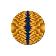 Plaid Blue Gold Wave Chevron Magnet 3  (round) by Mariart