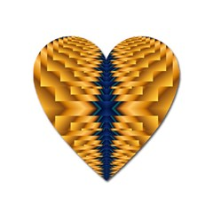 Plaid Blue Gold Wave Chevron Heart Magnet by Mariart