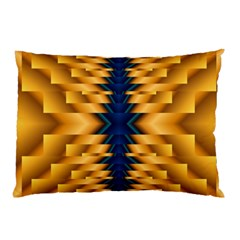 Plaid Blue Gold Wave Chevron Pillow Case by Mariart