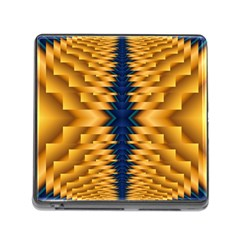 Plaid Blue Gold Wave Chevron Memory Card Reader (square) by Mariart