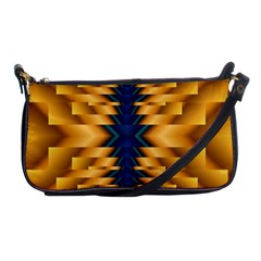 Plaid Blue Gold Wave Chevron Shoulder Clutch Bags by Mariart