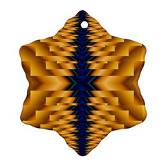 Plaid Blue Gold Wave Chevron Ornament (snowflake) by Mariart