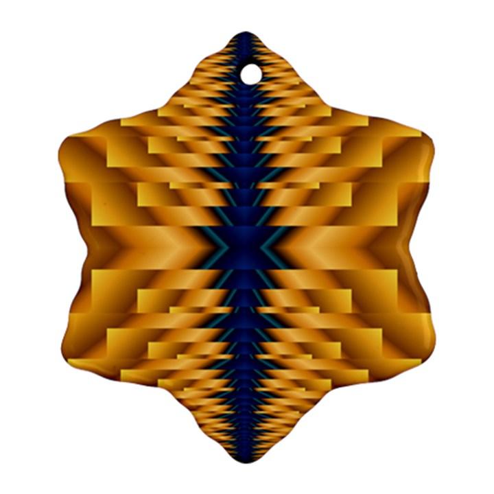 Plaid Blue Gold Wave Chevron Ornament (Snowflake)