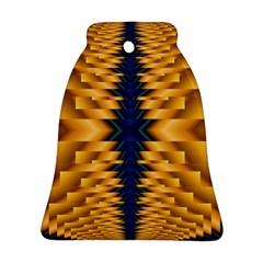 Plaid Blue Gold Wave Chevron Bell Ornament (two Sides) by Mariart