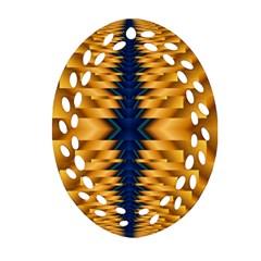 Plaid Blue Gold Wave Chevron Oval Filigree Ornament (two Sides) by Mariart