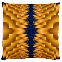Plaid Blue Gold Wave Chevron Large Cushion Case (two Sides)
