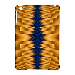 Plaid Blue Gold Wave Chevron Apple Ipad Mini Hardshell Case (compatible With Smart Cover) by Mariart