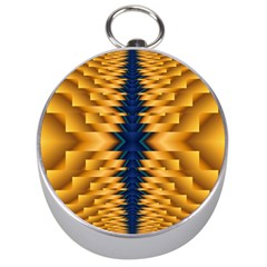 Plaid Blue Gold Wave Chevron Silver Compasses by Mariart