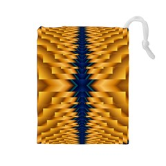 Plaid Blue Gold Wave Chevron Drawstring Pouches (large)  by Mariart