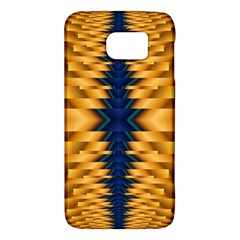 Plaid Blue Gold Wave Chevron Galaxy S6 by Mariart