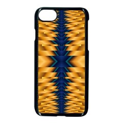 Plaid Blue Gold Wave Chevron Apple Iphone 7 Seamless Case (black) by Mariart